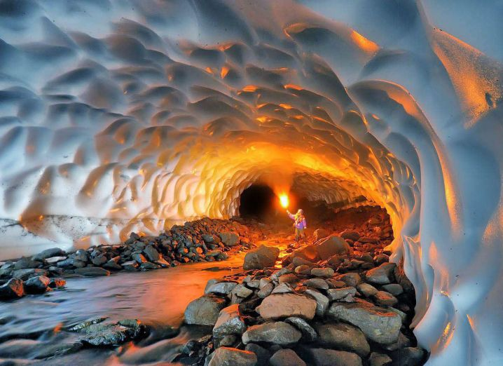 Cave at the Mutnovsky Volcano